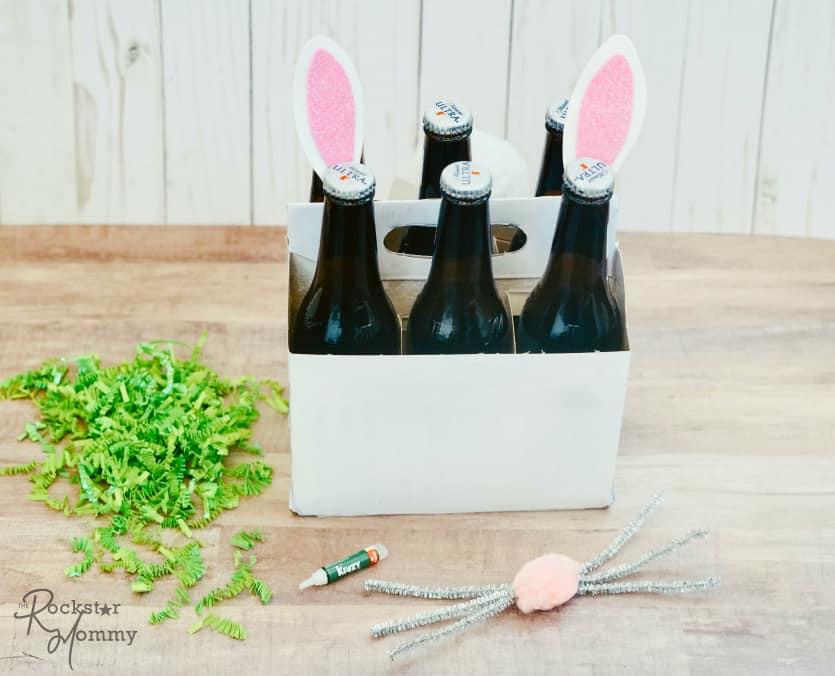 Easter Bunny Brew Gift - gluing ears to beer bottles -