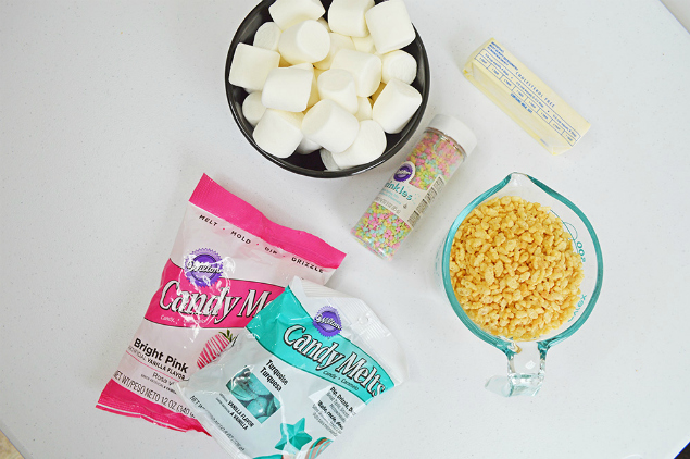 Easter Egg Rice Krispie Treats - Ingredients marshmallows, sprinkles, cereal, butter and candy melts