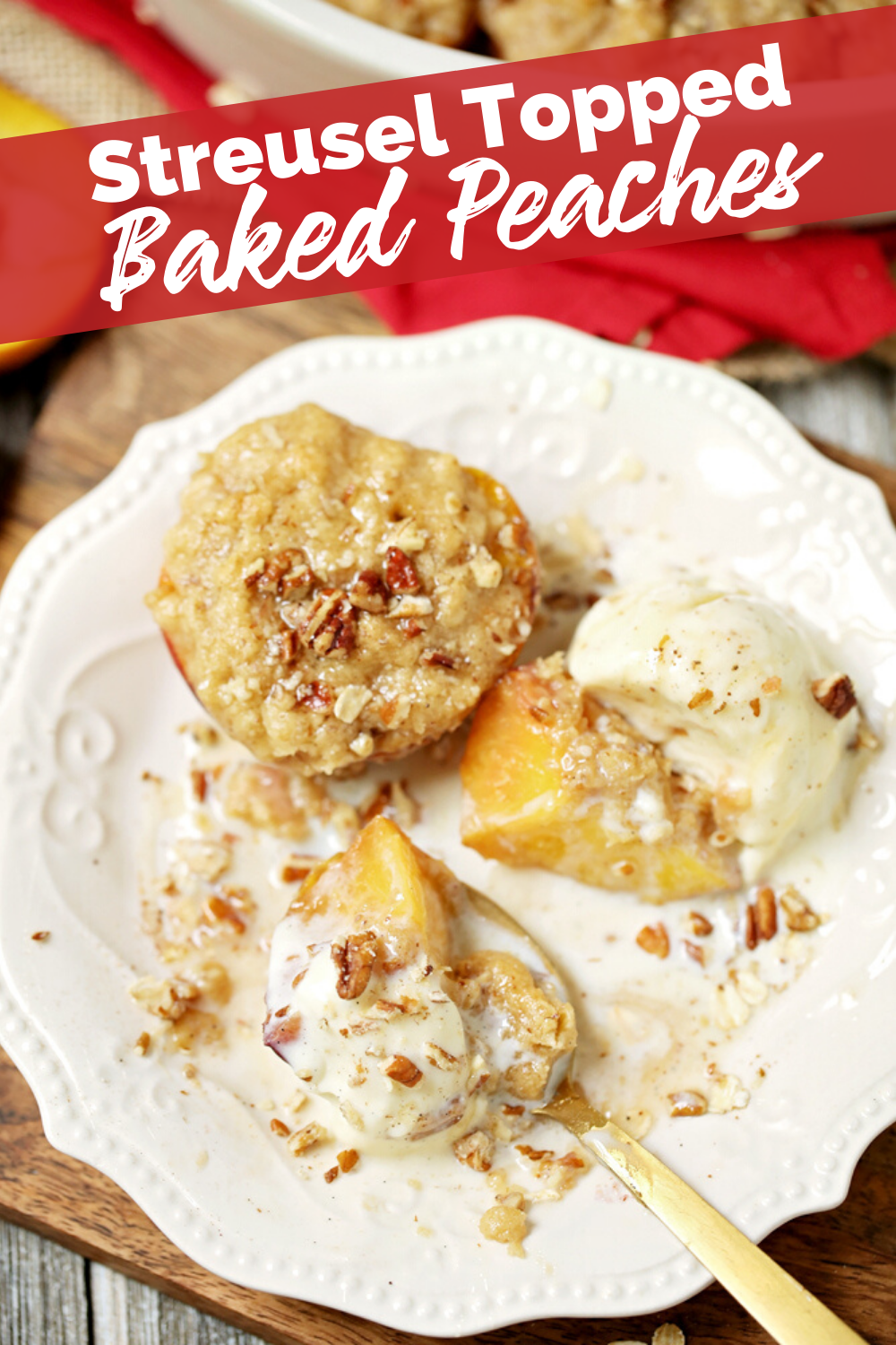 Top down image of Streusel Topped Baked Peaches recipe , served on a plate from The Rockstar Mommy