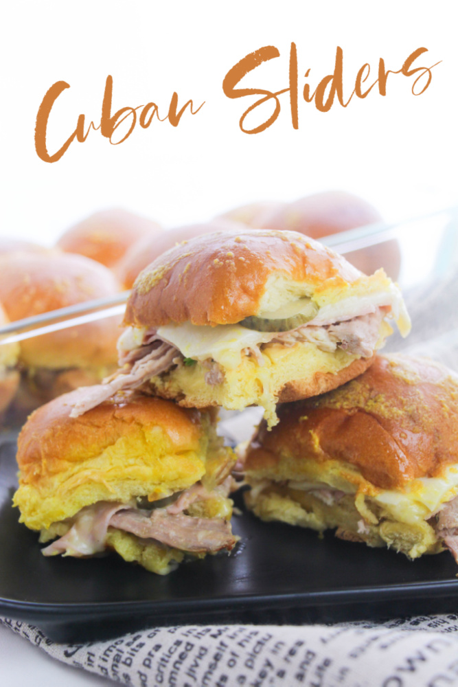 Cuban Sliders Stacked on a black plate