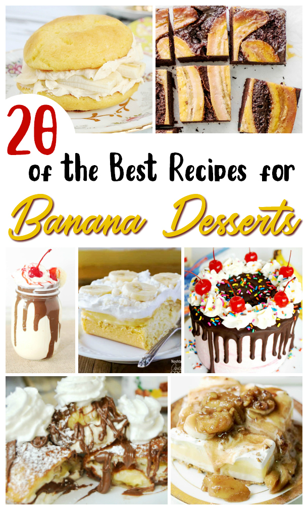 Collage image showing 7 different dessert recipes