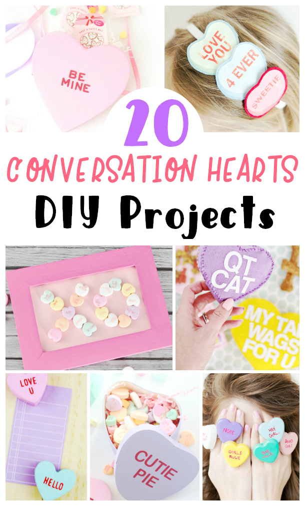 collage image showing 7 different Conversation heart themed DIY projects