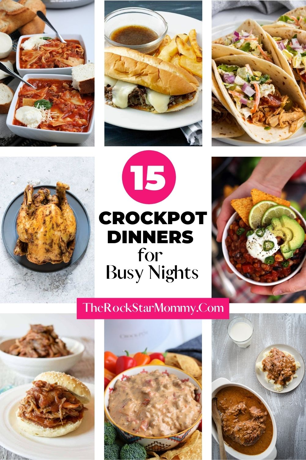 collage image of 8 different crockpot meals