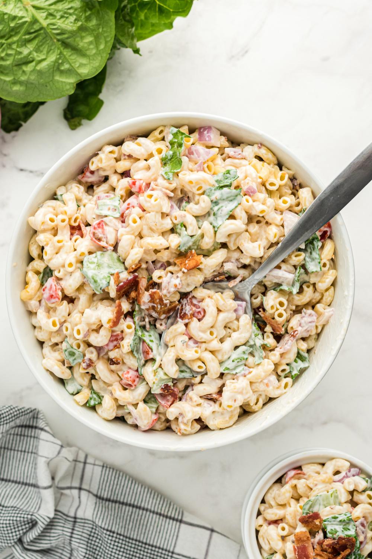 BLT Macaroni Salad in a bowl