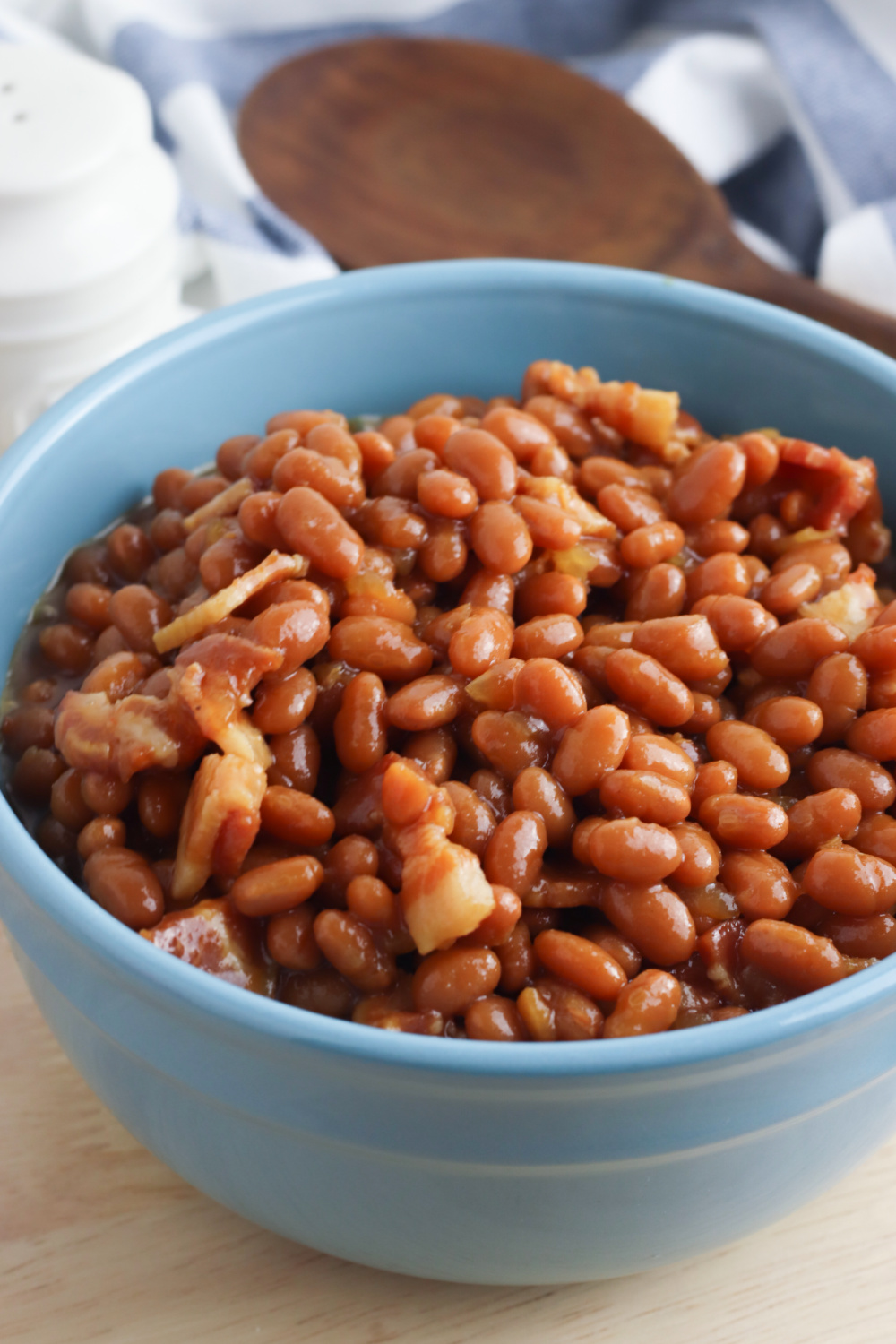 Brown sugar baked beans in a bowl